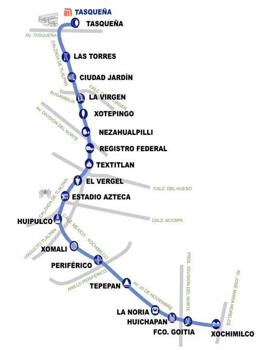 Mapa del tren ligero que va a Xochimilco