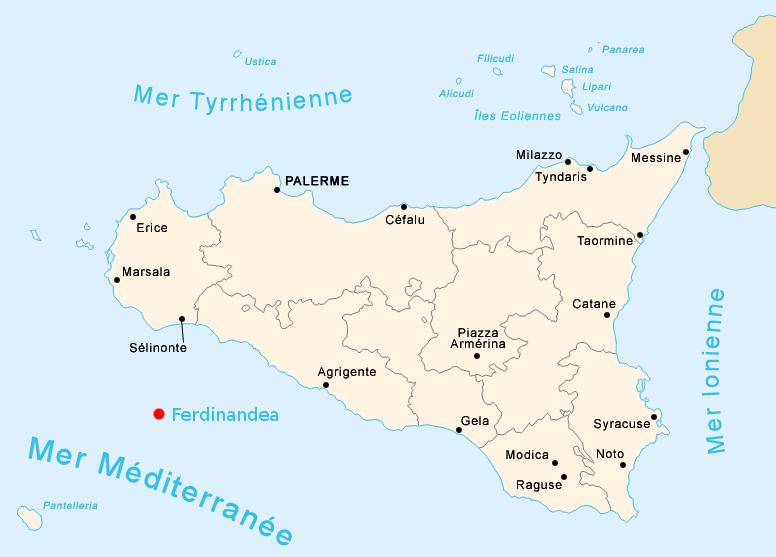 Mapa de la localización de la Isla Ferdinandea