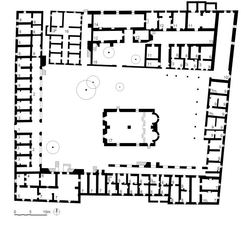 Mapa con los edificios que forman el monasterio de Arkadi