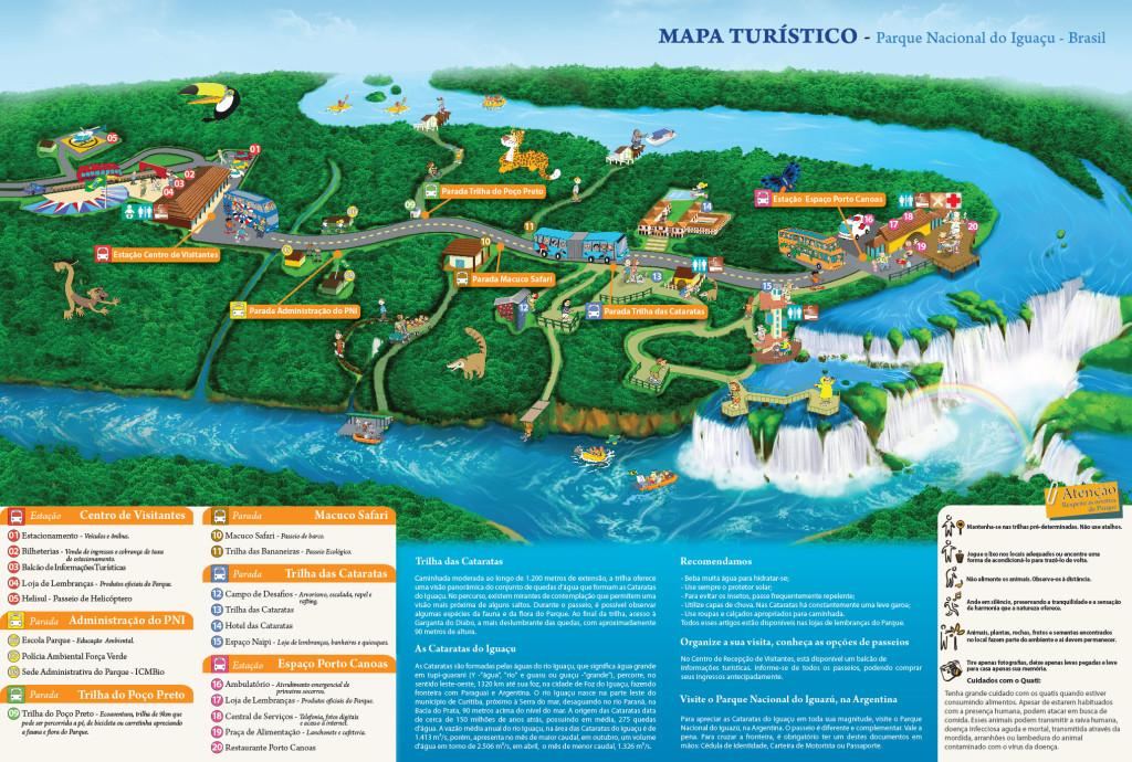 Mapa del Parque de las Cataratas desde el lado de Brasil