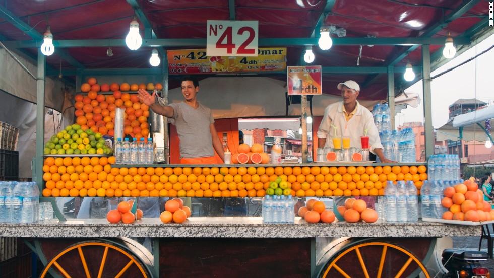 Vendedores de zumo de la plaza Jemaa el Fna