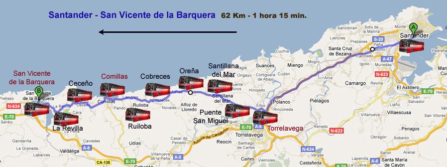 Santander Comillas en autobús