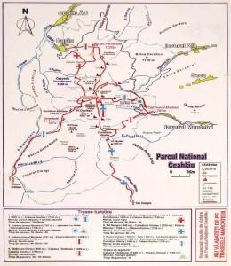 Mapa con las rutas que recorren el Monte Ceahlau.