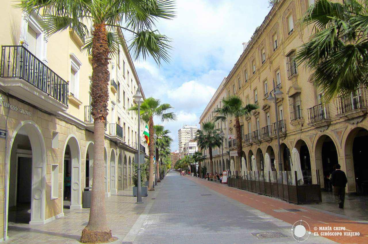 La calle que desemboca en la plaza de Colón