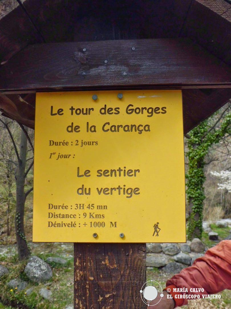 Inicio del camino de las Gorges (Gargantas) del Carança