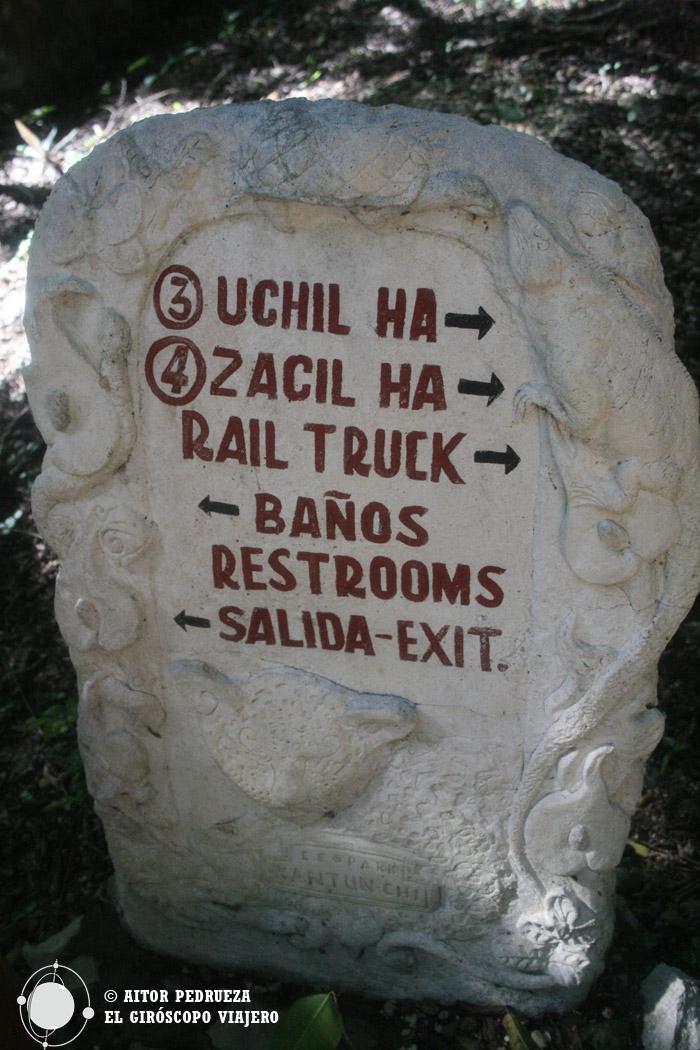 Indicaciones a los cenotes de Kantun Chi