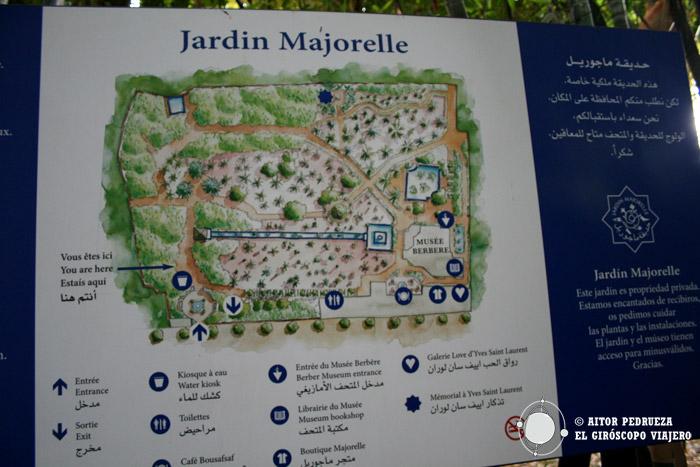 Mapa de los jardines Majorelle