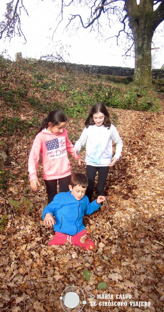 Hundirse en las hojas todavía produce felicidad en los niños
