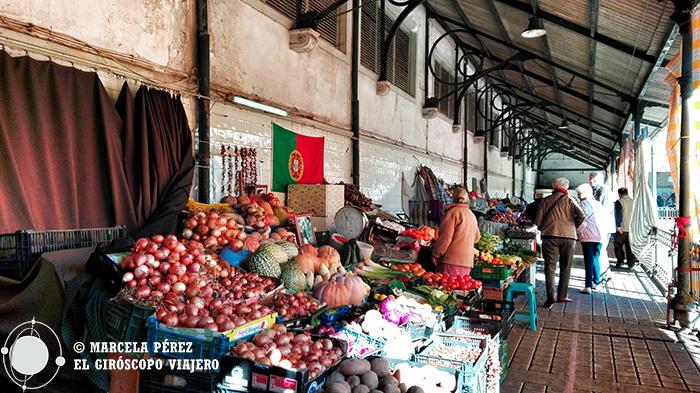Puestillos comerciales en el interior del Mercado Bolhao