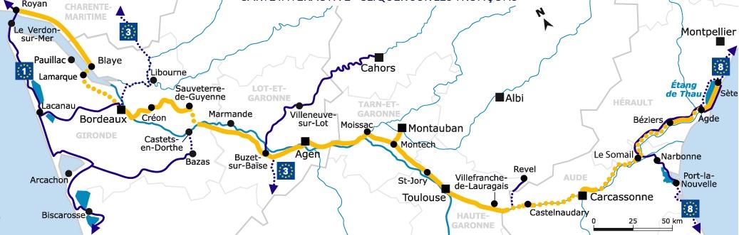Mapa del Canal del Garona, que se une con el Canal del Midi