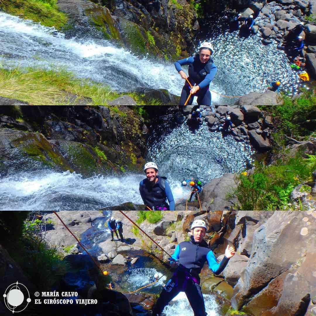 Viajeros giroscópicos haciendo canyoning en Madeira