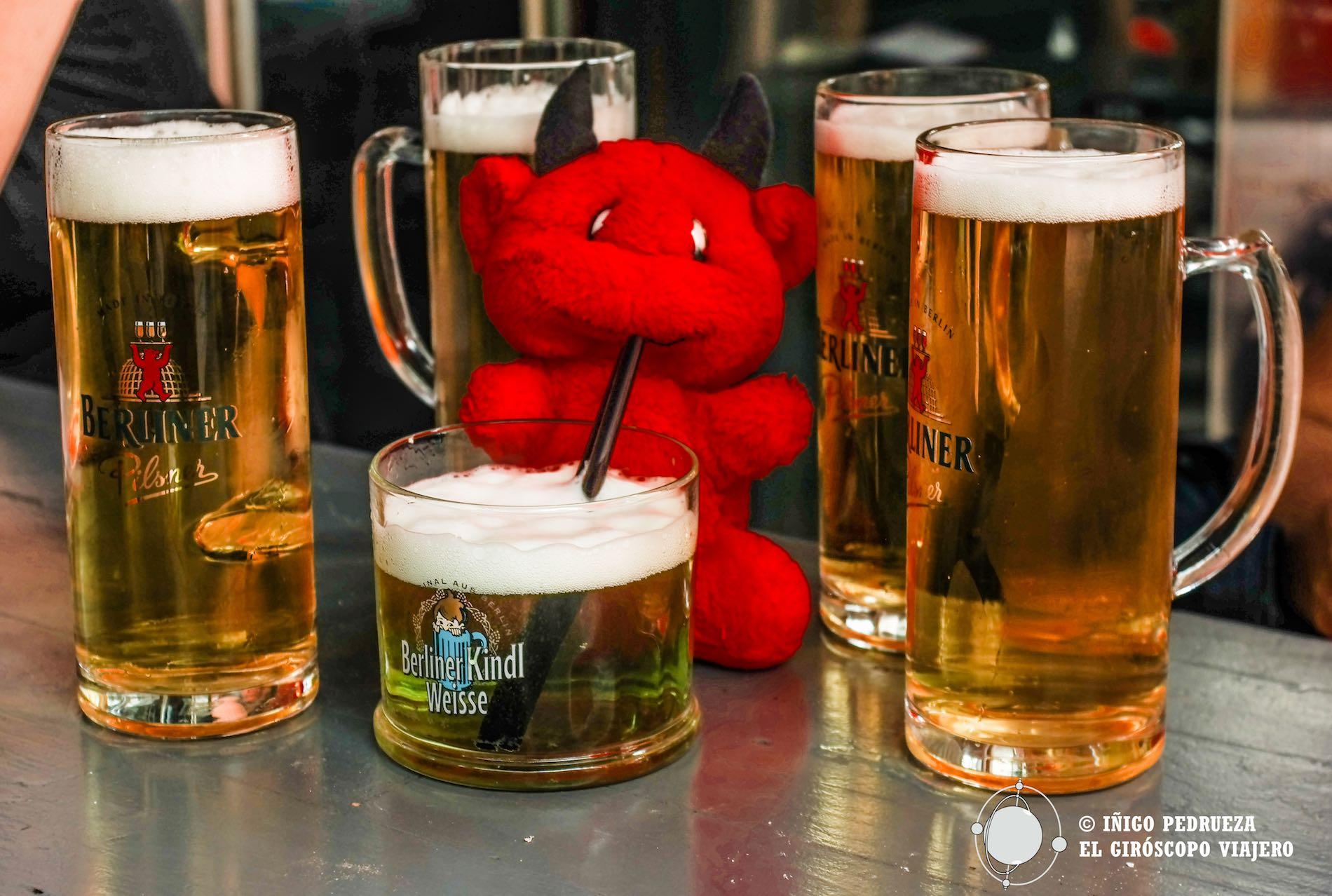 Cervezas berlinesas y la curiosa poción verde Berliner weisser. ©Iñígo Pedrueza.