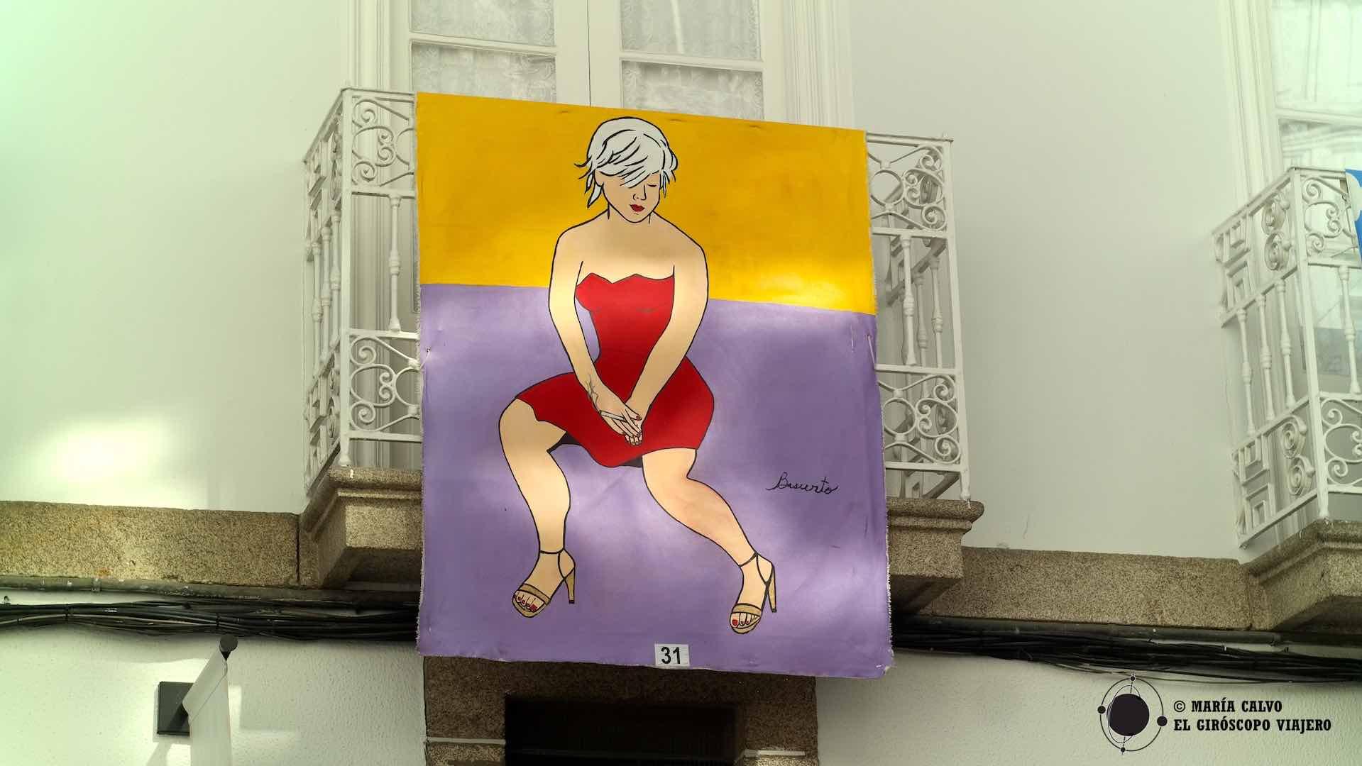 """Lienzo de la artista Cecilia Basurto, en """"As Balconadas"""" de Betanzos de los Caballeros"""