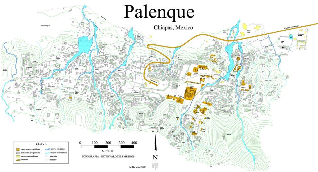 Mapa del yacimiento y ruinas de Palenque