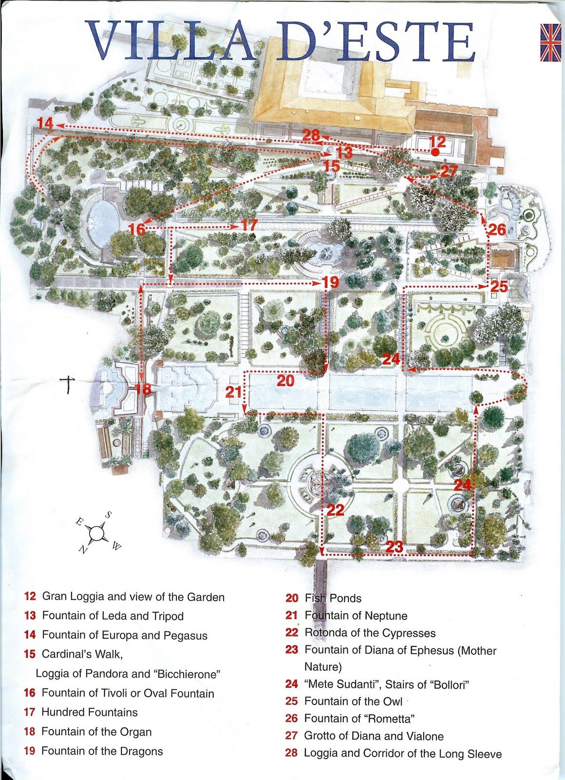 Mapa de las esculturas y principales puntos que ver en Villa d'Este