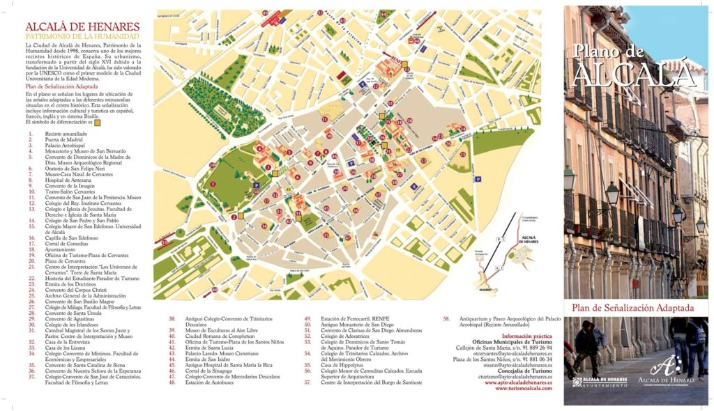 Mapa de la Ciudad y Monumentos de Alcalá de Henares