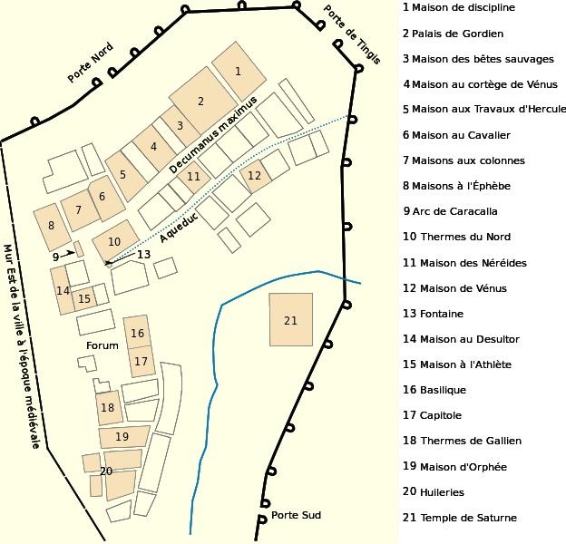 Mapa detallado de las ruinas romanas de Volubilis