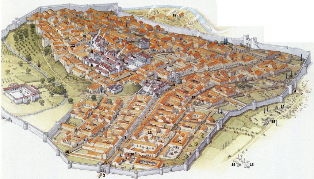 Recreación de Volubilis y sus espacios monumentales más importantes