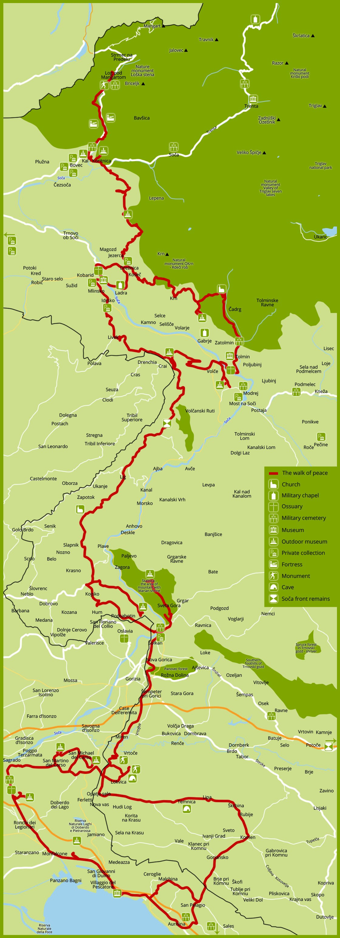 Mapa de la Ruta del Camino de la Paz