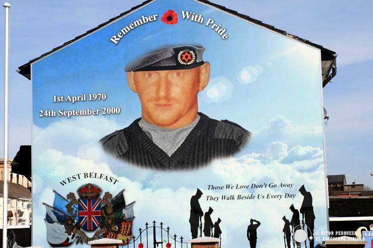 Mural Unionista de soldado muerto en el conflicto