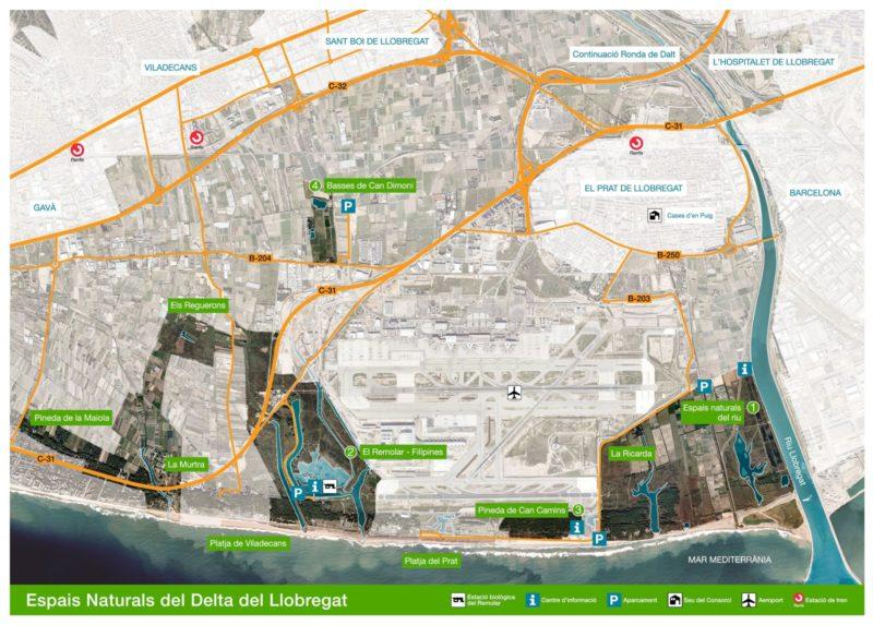 Mapa de los Espacios Naturales del Delta del Llobregat