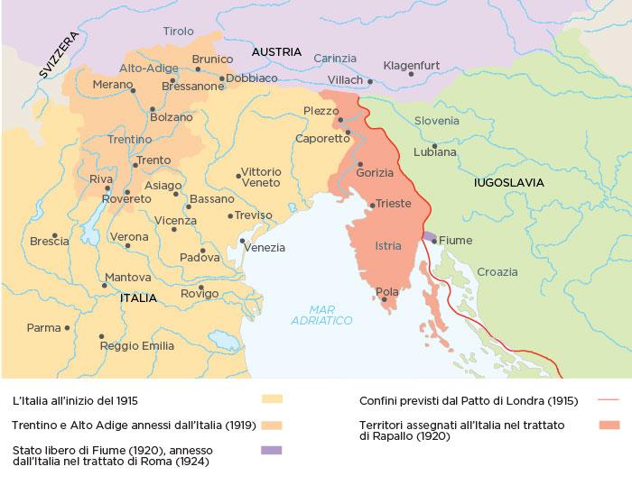 Mapa de los territorios ganados por Italia después de la Primera Guerra Mundial