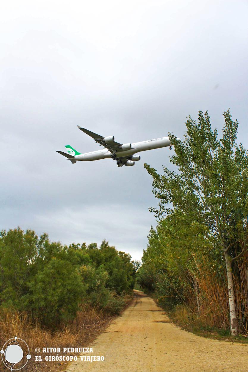 Avión sobrevolando el delta del Llobregat