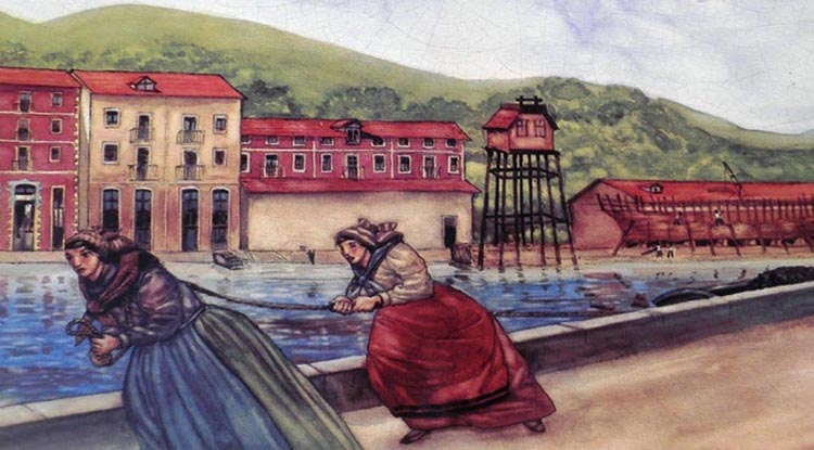 Pintura de Sirgueras arrastrando barcos en la Ría de Bilbao