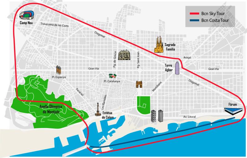 Mapa del recorrido del Vuelo en helicóptero sobre Barcelona