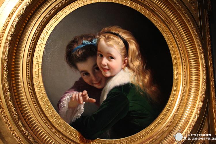 Obra de Pere Borrell del Caso. Niñas riendo, 1880