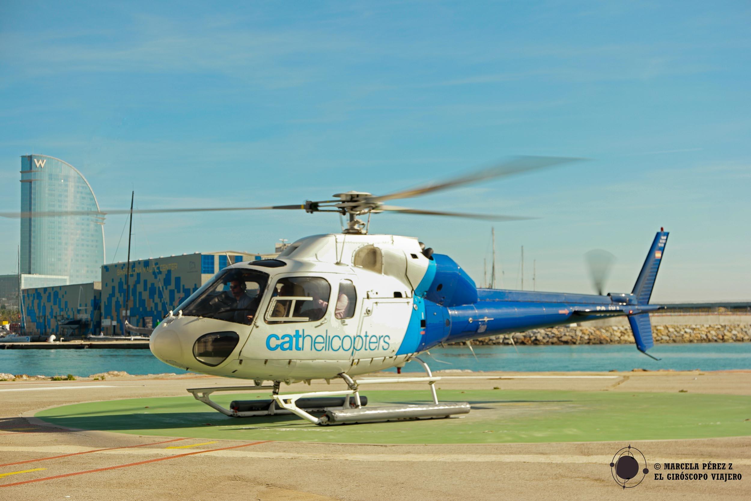 Aterrizando tras el vuelo en helicóptero
