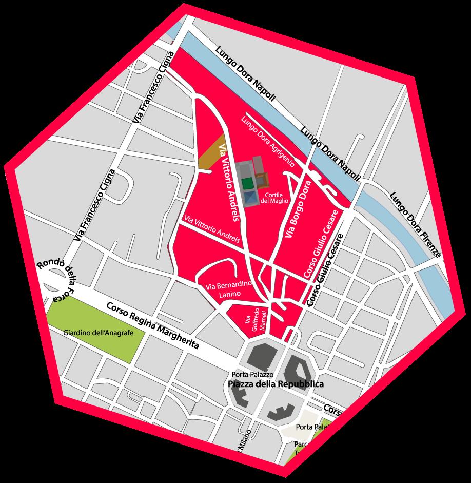 Zona de Turín donde se celebra el mercado del gran Balon