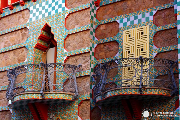 Dos estilos de balcones de la Casa Vicens