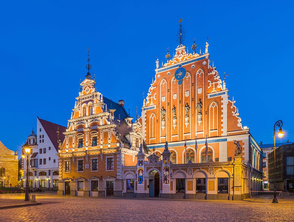 Casa de los Cabezas Negras en Riga. Capital de Letonia, una de los países bálticos