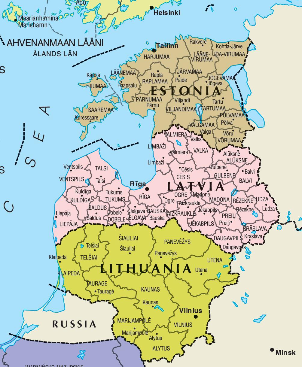 Mapa Países Bálticos