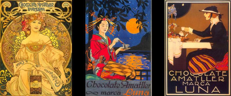 Publicidad de época de los Chocolates Amatller