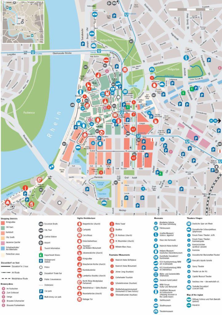 Mapa de turismo en Düsseldorf