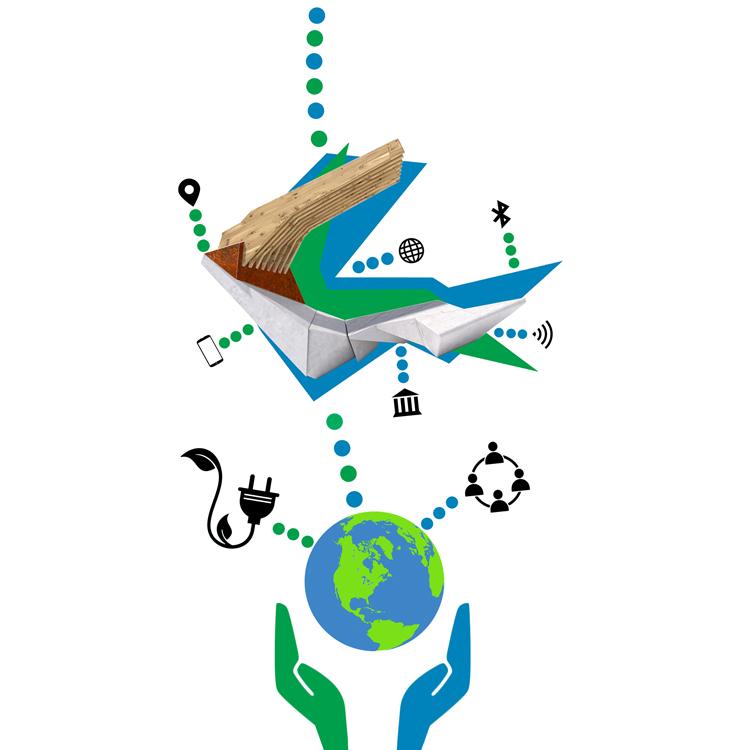 Explicación del concepto sostenible, social y arquitectónico del banco inteligente