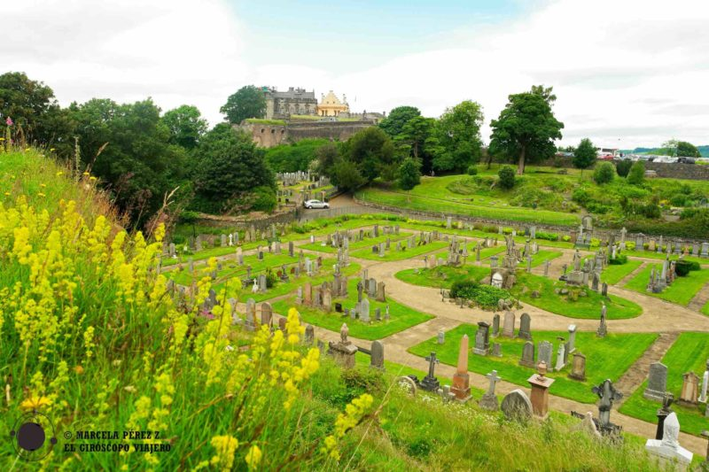 Espectaculares vistas desde el cementerio hacia el castillo de Stirling ©Marcela Pérez Z.