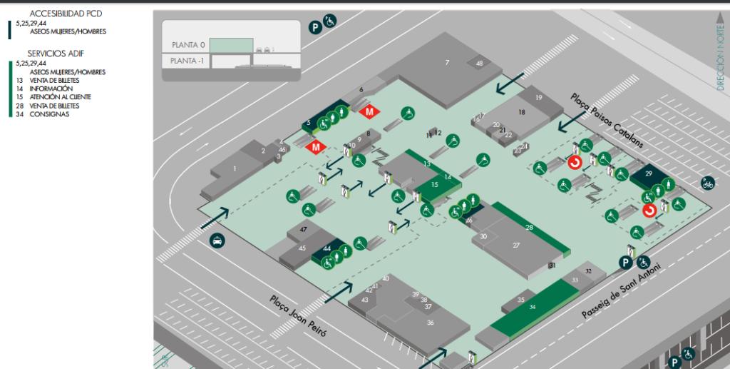 Mapa de las consignas en la estación de tren de Sants de Barcelona