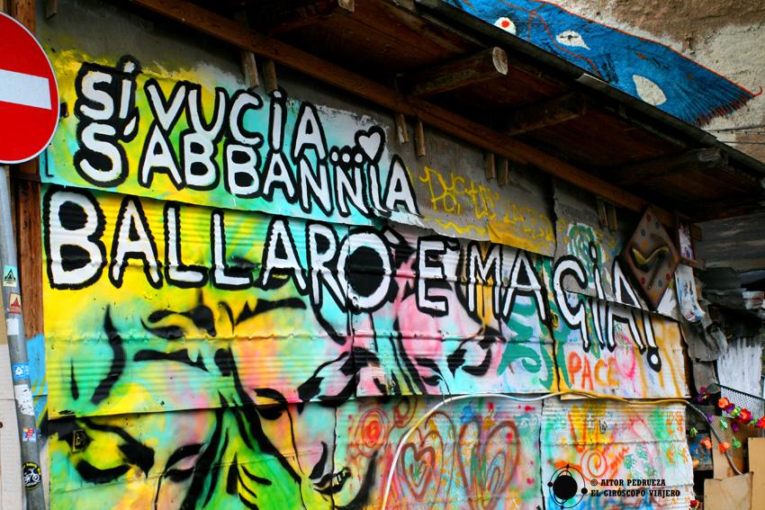 Graffiti en el barrio de Palermo de Ballaro