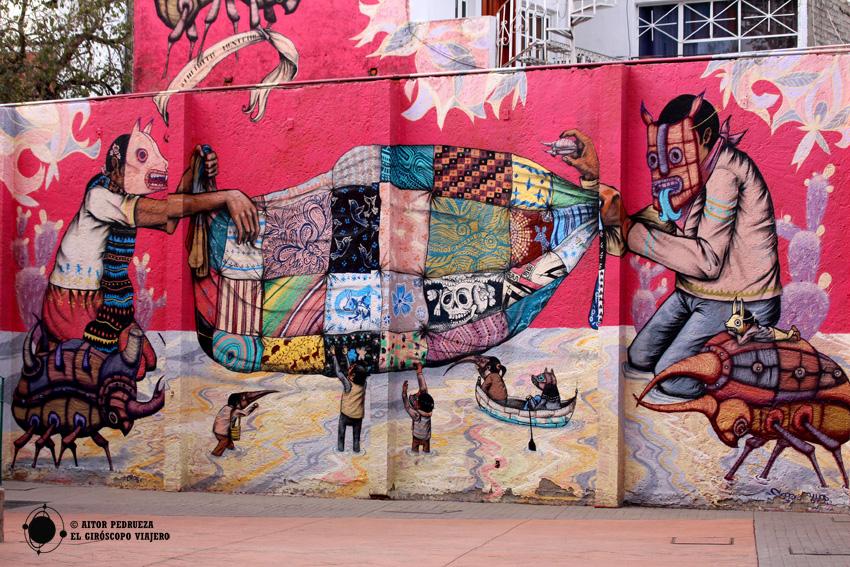 Graffiti en el exterior del Museo Nacional de Culturas Populares de Coyoacán (Ciudad de México)