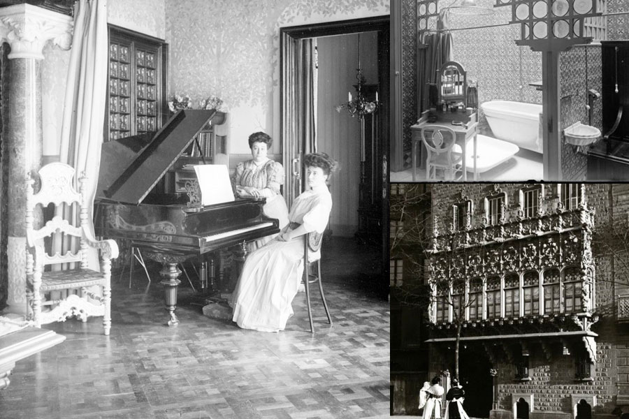 Fotos de época del interior del palacio Baró de Quadras