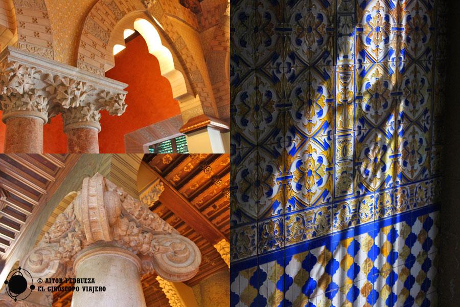 Detalles del interior del Palacio Baró de Quadras