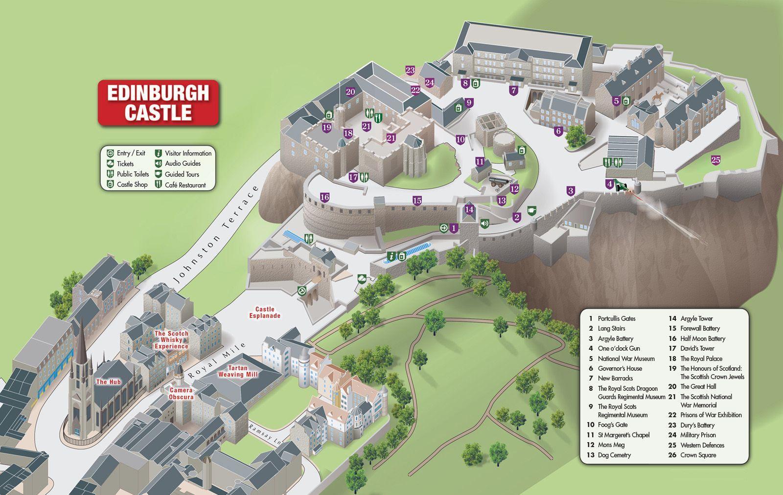 Mapa de los lugares de interés dentro del Castillo de Edimburgo