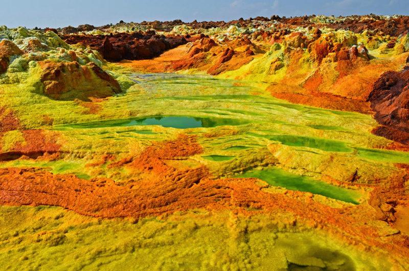 Volcán Dallol en el norte de Etiopía