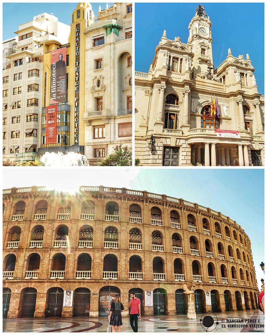 Monumentos del centro histórico de Valencia como la plaza de toros o el ayuntamiento