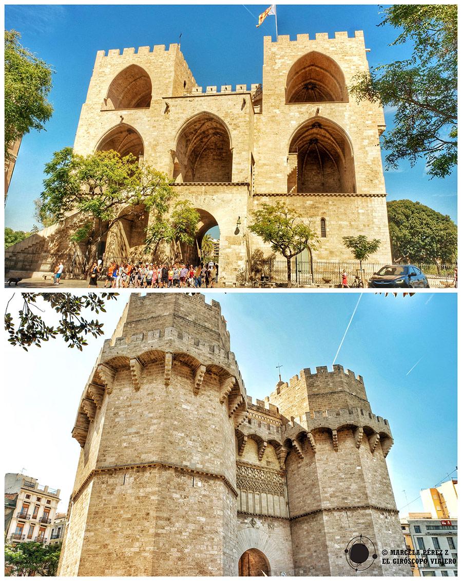 Puerta Serranos y las murallas de la ciudad medieval de Valencia