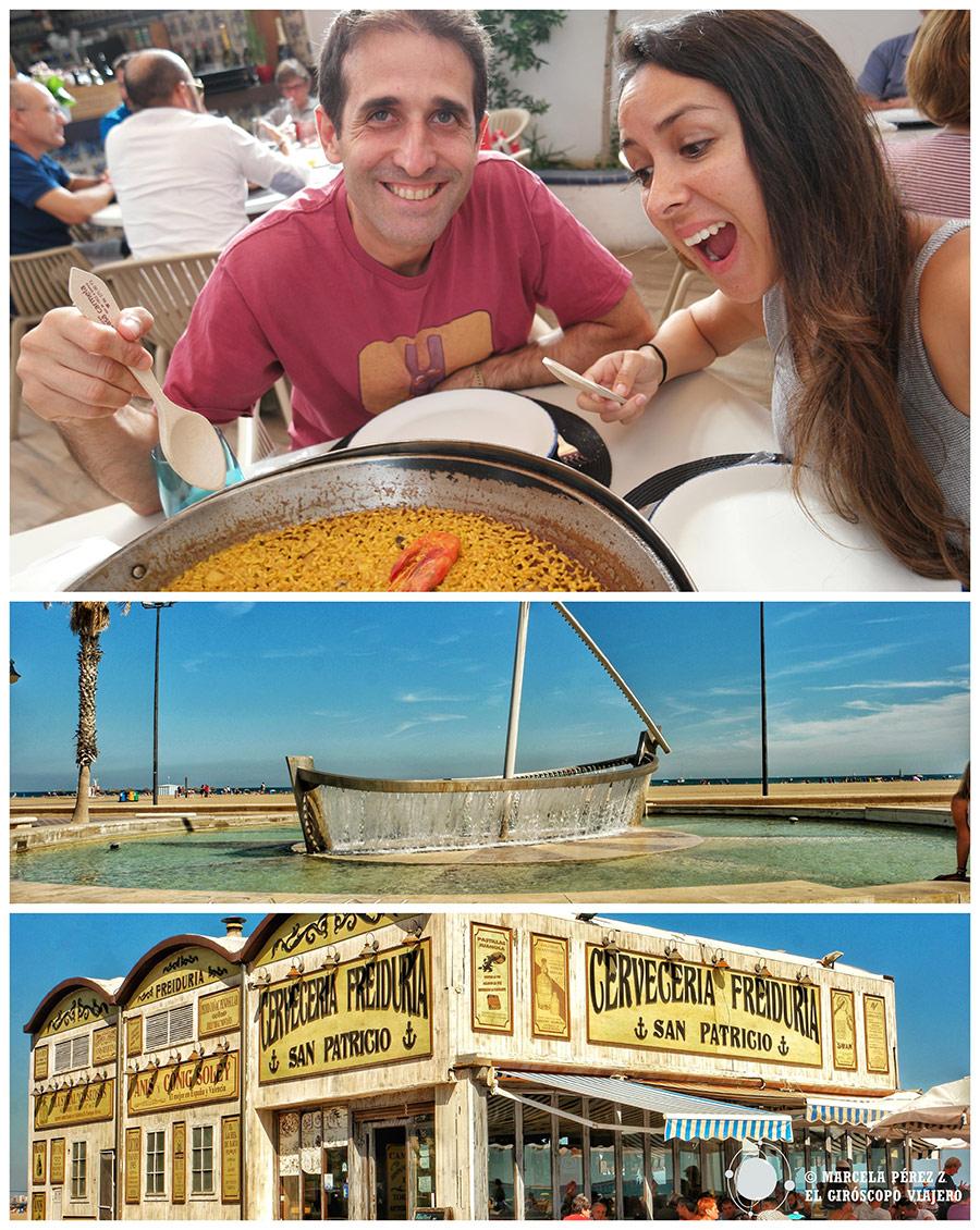Playa de la Malvarrosa. Imprescindible comerse una buena paella.