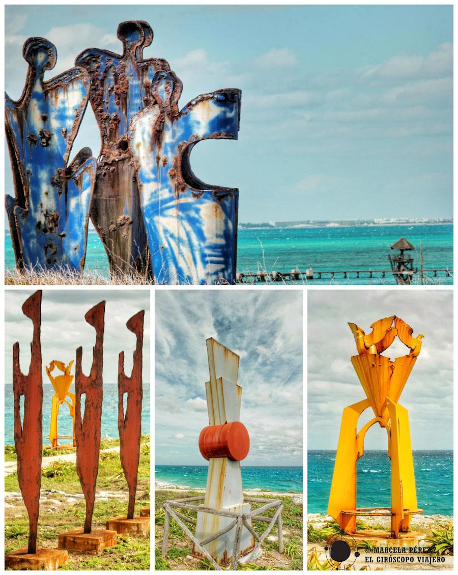 En la Punta Sur de Isla mujeres existe está galería de arte al aire libre y como música de ambiente el murmullo del mar ©Marcela Pérez Z.